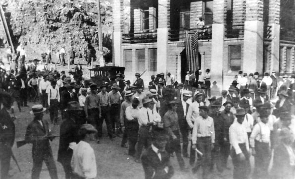 The posse of 2,000 men who forced the deportees from Bisbee had been quickly deputized by Bisbee Sheriff Harry Wheeler. One deportee was killed during the arrests -- as was one of the members of the arresting posse. (Courtesy of the Bisbee Mining & Historical Museum, a Smithsonian Affiliate)