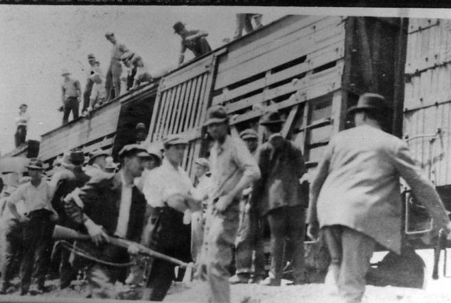The striking miners were given a choice to renounce their union or be forced by gunpoint in cattle cars, still dirty from livestock. Each car held about 50 men. Reports from the time say there was little water or food given to them during the 11-hour journey. (Courtesy of the Bisbee Mining & Historical Museum, a Smithsonian Affiliate)