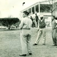The first day of play for Tup Holmes, Charles Bell and Oliver Wendell Holmes at North Fulton Golf Course on Dec. 24, 1955. (Courtesy The Holmes Family Archive)