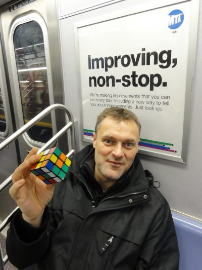 Ron van Bruchem practices cubing on the subway (Courtesy Ron van Bruchem)