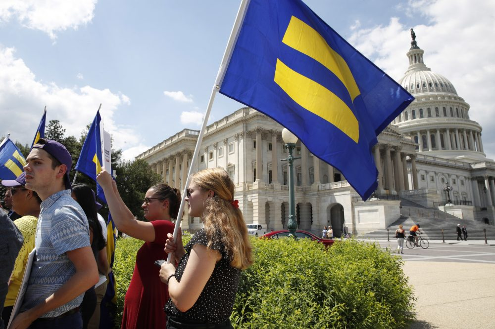 """People hold up """"equality flags"""" on Capitol Hill in Washington, Wednesday, July 26, 2017, during an event held by Rep. Joe Kennedy, D-Mass., in support of transgender members of the military. (Jacquelyn Martin/AP)"""