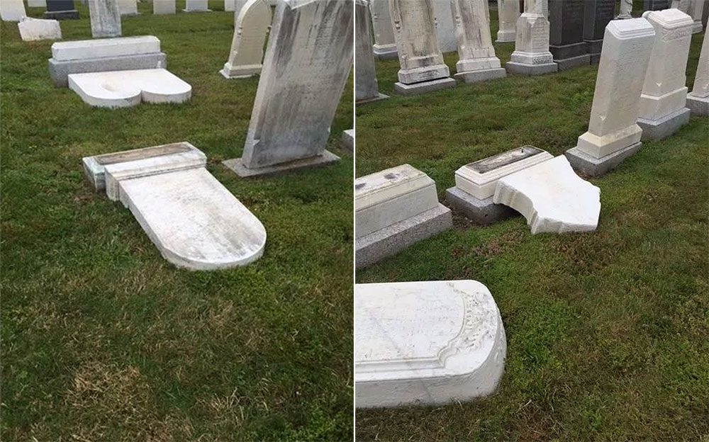 Six headstones in total were vandalized. (Courtesy of Melrose Police Department)