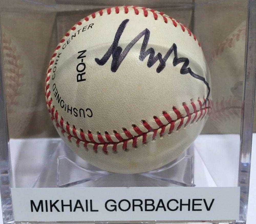 A baseball signed by Mikhail Gorbachev. (Courtesy Randy Kaplan)