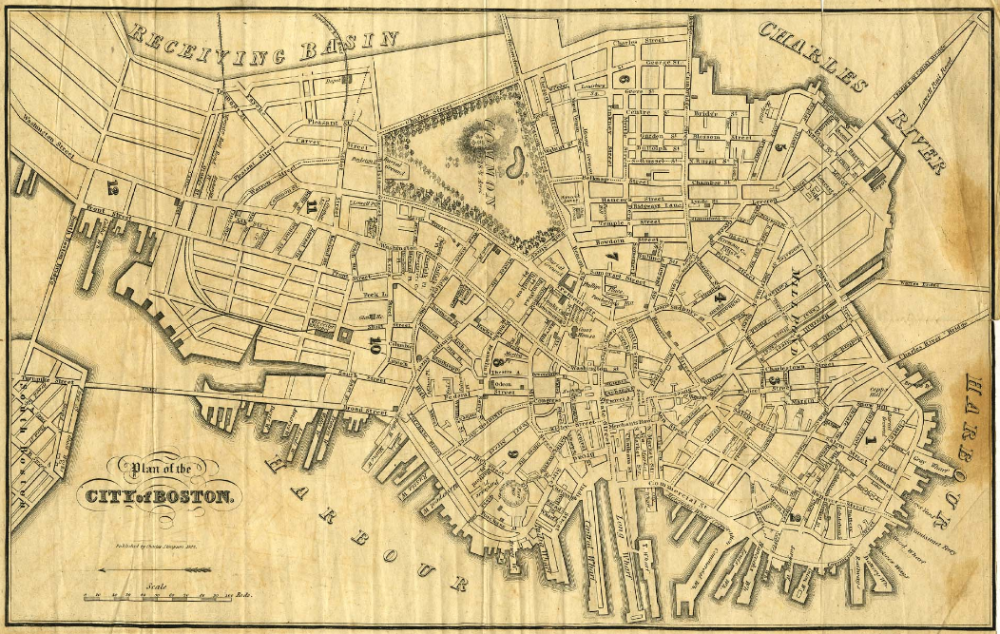 An 1837 plan of the city of Boston by Charles Stimpson (Courtesy of the Cape Ann Museum Library & Archive)