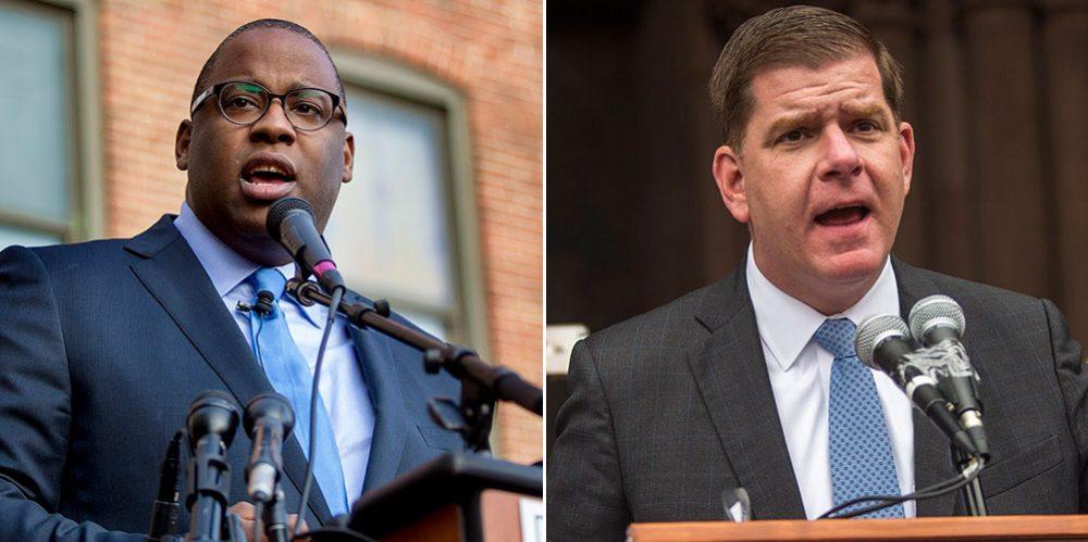 City Councilor Tito Jackson, left, and Boston Mayor Marty Walsh (Jesse Costa/WBUR)