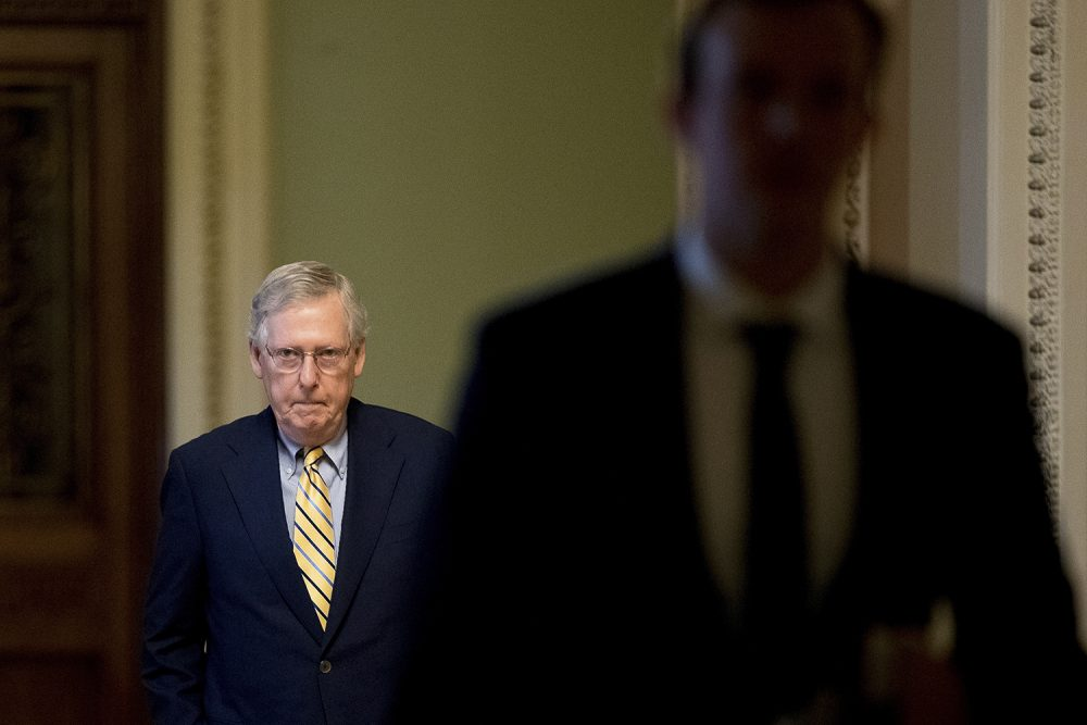 Senate Majority Leader Mitch McConnell of Ky. arrives on Capitol Hill in Washington, Monday, July 17, 2017. (Andrew Harnik/AP)