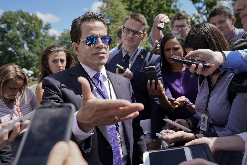 Then-White House communications director Anthony Scaramucci speaks to members of the media at the White House on July 25, 2017. (Pablo Martinez Monsivais/AP)