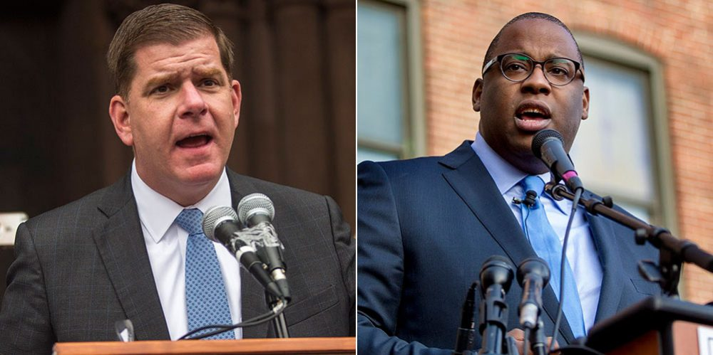 Boston Mayor Marty Walsh, left, and City Councilor Tito Jackson (Jesse Costa/WBUR)