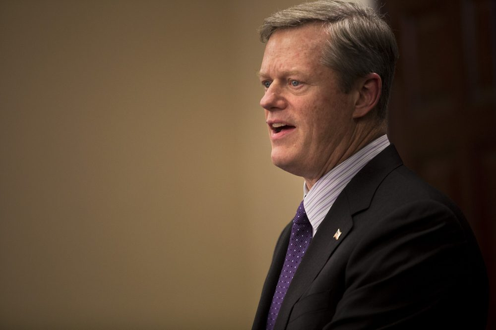 Gov. Charlie Baker is proposing new strategies for cracking down on the distribution of deadly synthetic drugs in Massachusetts. (Jesse Costa/WBUR)
