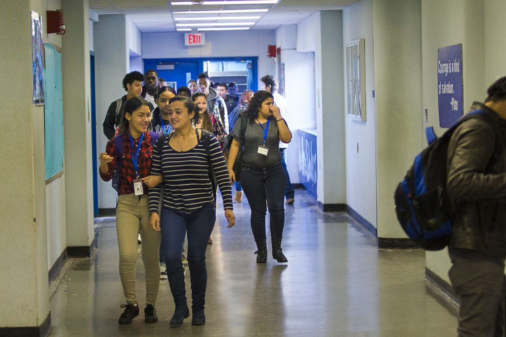 Students walk to class at Boston English High School. (Jesse Costa/WBUR)
