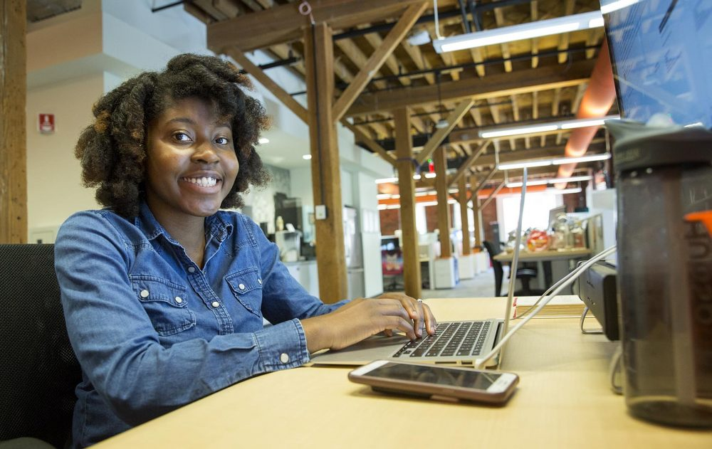 Rizel Bobb-Semple is part of the first cohort of Hack.Diversity interns. The 22-year-old is spending the summer as a data analyst intern at Hubspot, a Cambridge-based tech company. (Robin Lubbock/WBUR)