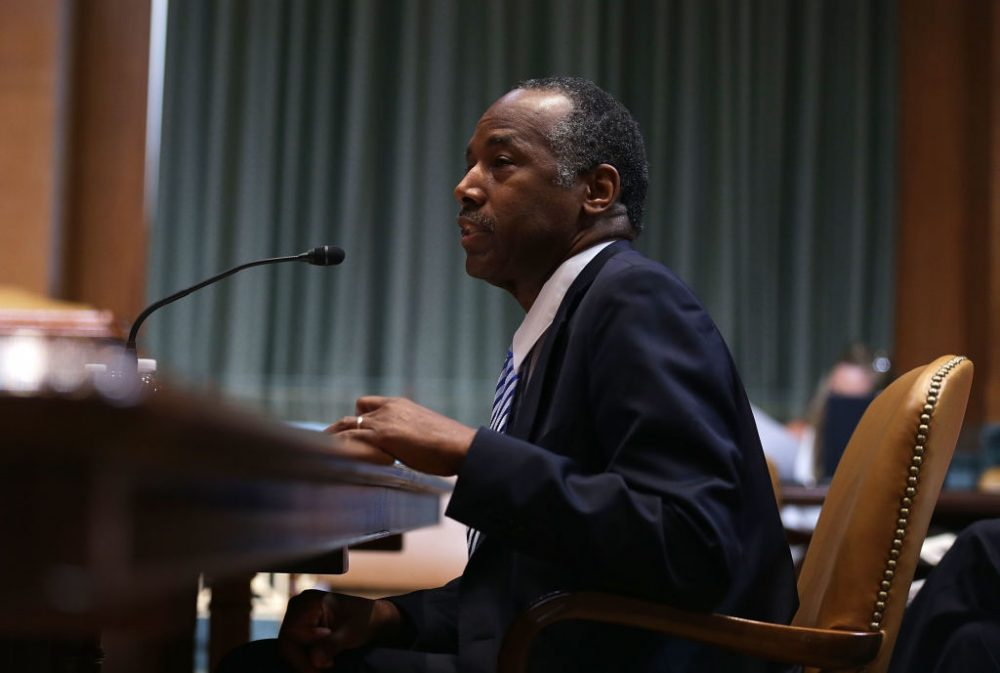 Housing and Urban Development Secretary Ben Carson testifies during a hearing before the Transportation, Housing and Urban Development, and Related Agencies Subcommittee of the Senate Appropriations Committee June 7, 2017 on Capitol Hill in Washington. (Alex Wong/Getty Images)