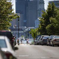 A view down Border Street in East Boston, where the Maverick Landing housing development abuts the Boston Harbor. (Jesse Costa/WBUR)