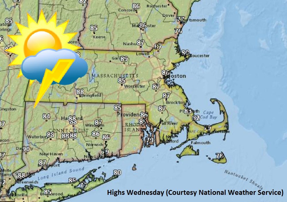 Highs on Wednesday. (Courtesy National Weather Service)