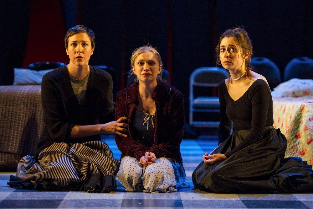"""Rebecca Henderson (as Olga), Tavi Gevinson (as Irina) and Cristin Milioti (as Masha) in """"Moscow Moscow Moscow Moscow Moscow Moscow."""" (Courtesy Daniel Rader/Williamstown Theatre Festival)"""