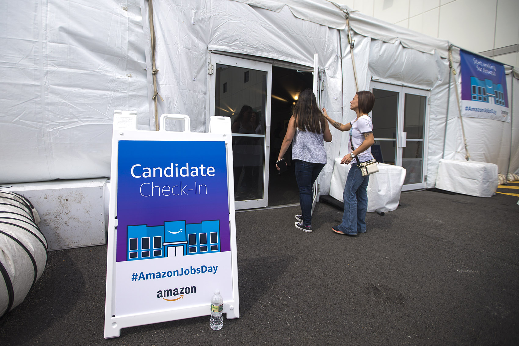 About 400 people filled out applications at Amazon's Fall River warehouse Wednesday morning as part of a national hiring spree. (Jesse Costa/WBUR)