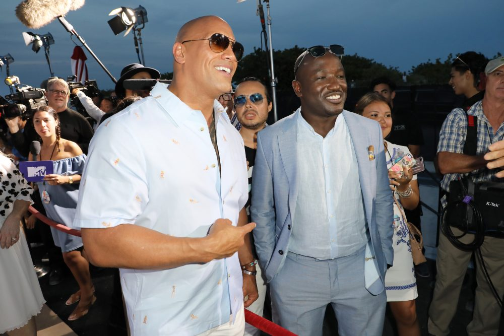 Dwayne Johnson and Hannibal Buress attend the world premiere of ''Baywatch' at South Beach. (Alexander Tamargo/Getty Images)