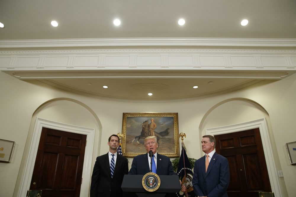 President Trump, accompanied by Sen. Tom Cotton, R- Ark., left, and Sen. David Perdue, R-Ga., speaks in the Roosevelt Room of the White House in Washington, Wednesday, Aug. 2, 2017, during the unveiling of legislation that would place new limits on legal immigration. (Evan Vucci/AP)