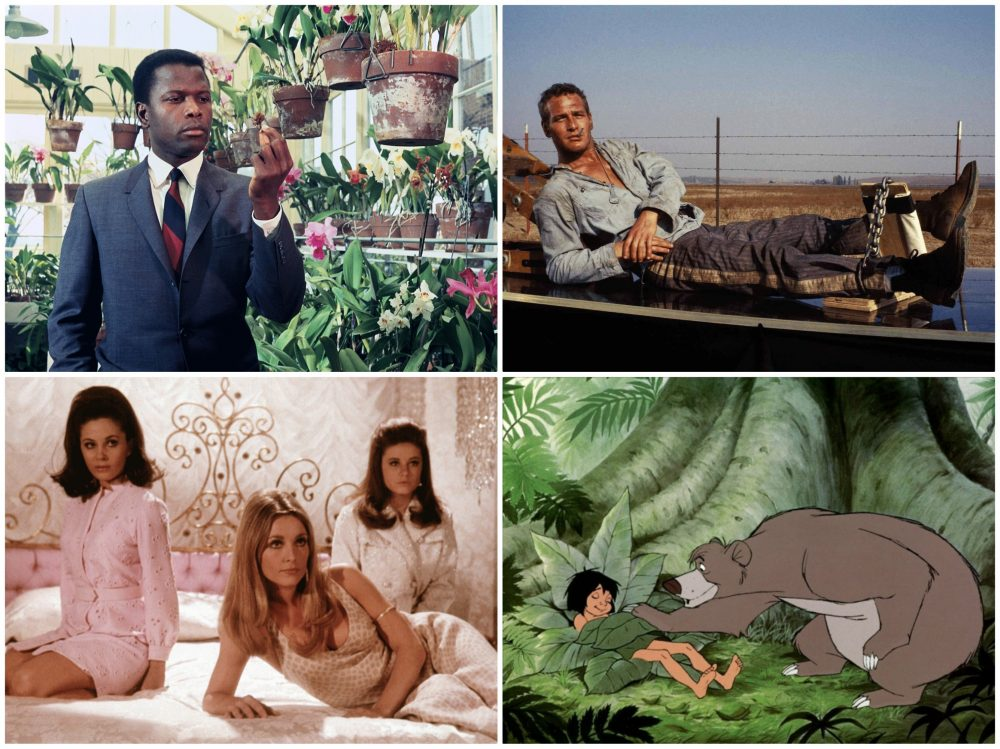 """Stills from the 1967 films """"In the Heat of the Night,"""" """"Cool Hand Luke,"""" """"Valley of the Dolls"""" and """"Jungle Book."""" (Courtesy MFA)"""