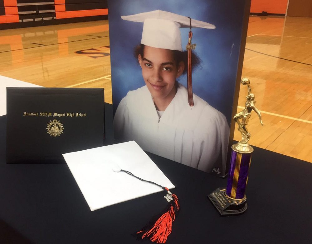 Following her death, Vastoria Lucas' senior photo and high school diploma were displayed at an event at Stratford High School. (Meribah Knight/WPLN)