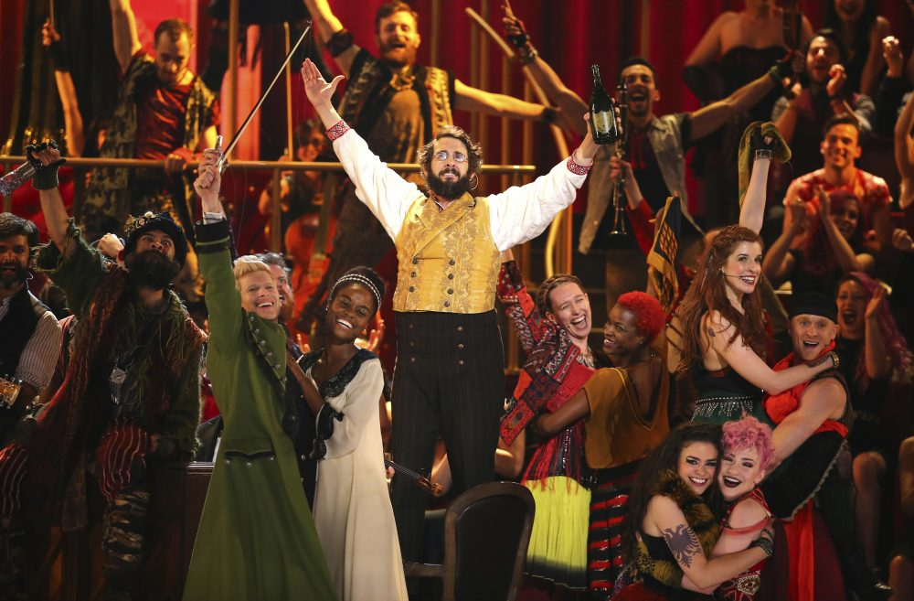 "Josh Groban and the cast of ""Natasha, Pierre & the Great Comet of 1812"" perform at the 71st annual Tony Awards on Sunday, June 11, 2017, in New York. (Michael Zorn/Invision/AP)"
