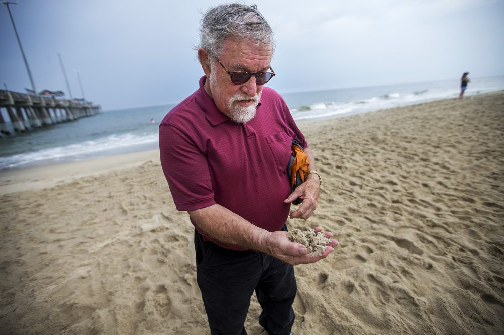 "Orrin Pilkey, of Duke University, examines the health of a handful of sand on Nags Head Beach. ""These beaches are doomed,"" Pilkey predicts. ""The buildings are doomed too."" (Jesse Costa/WBUR)"