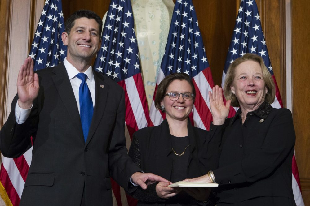 Speaker Paul Ryan administers the House oath of office to Rep. Niki Tsongas, D-Mass., during a mock swearing in ceremony on Jan. 3, 2017, as the 115th Congress began. (Jose Luis Magana/AP)