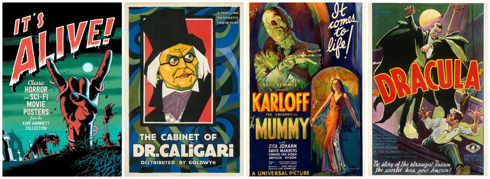 A few of the old movie posters on display at the PEM. (Courtesy Collection of Kirk Hammett)