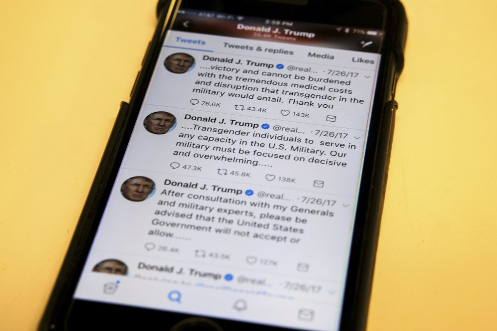 President Trump's tweeter feed is photographed on a mobile phone in Washington, Thursday, Aug. 3, 2017.  Trump's tweets declaring transgender individuals unwelcome in his military has plunged the Pentagon into a legal and moral quagmire, seeing off a flurry of meetings to devise a new policy that could lead to hundreds of service members being discharged. (J. David Ake/AP)