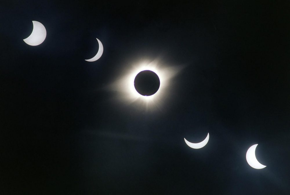 A multiple exposure photograph shows the progress of the July 11, 1991 solar eclipse over Xochicalco, Mexico. (Omar Torres/AFP/Getty Images)