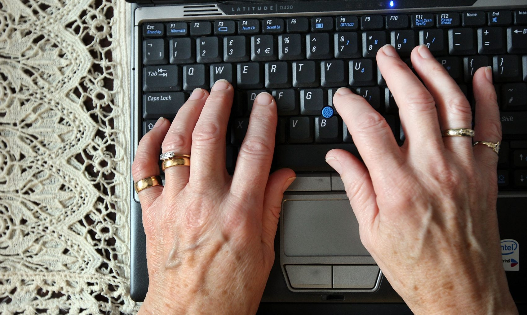 The elder orphans Facebook group has gained 5,000 users since it began last year. Pictured: Mary Devlin uses a laptop computer on Nov. 1, 2007 in London. (Peter Macdiarmid/Getty Images)