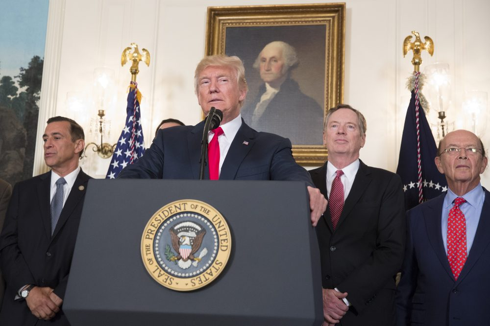 President Donald Trump speaks before signing a memorandum on addressing China's laws, policies, practices, and actions related to intellectual property, innovation, and technology at the White House on Aug. 14, 2017 in Washington. (Chris Kleponis-Pool/Getty Images)