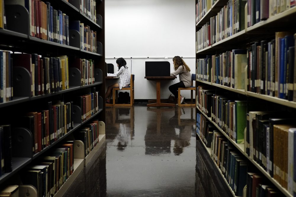 Students study in a library on the campus of California State University, Long Beach in Long Beach, Calif., in 2012. (Jae C. Hong/AP)