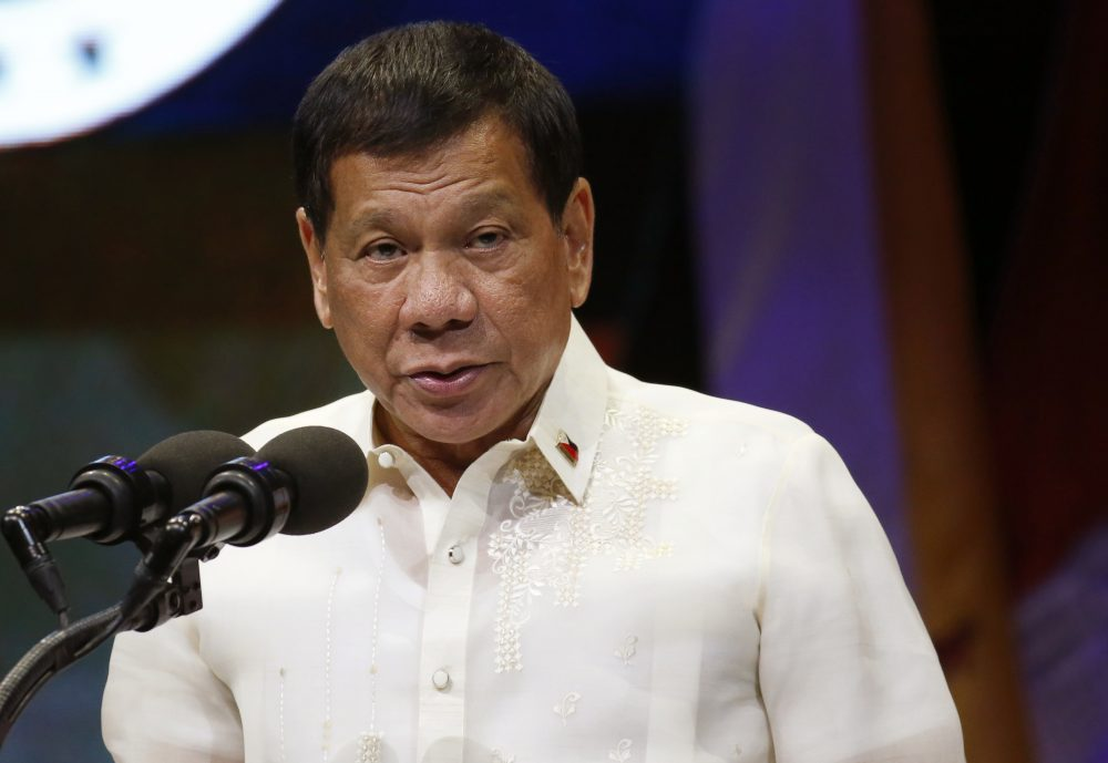Philippine President Rodrigo Duterte addresses delegates at the closing ceremony of the 50th ASEAN Foreign Ministers Meeting and its 50th Grand Celebration, Tuesday Aug. 8, 2017, at the Philippine International Convention Center in Manila, Philippines. (Bullit Marquez/AP)