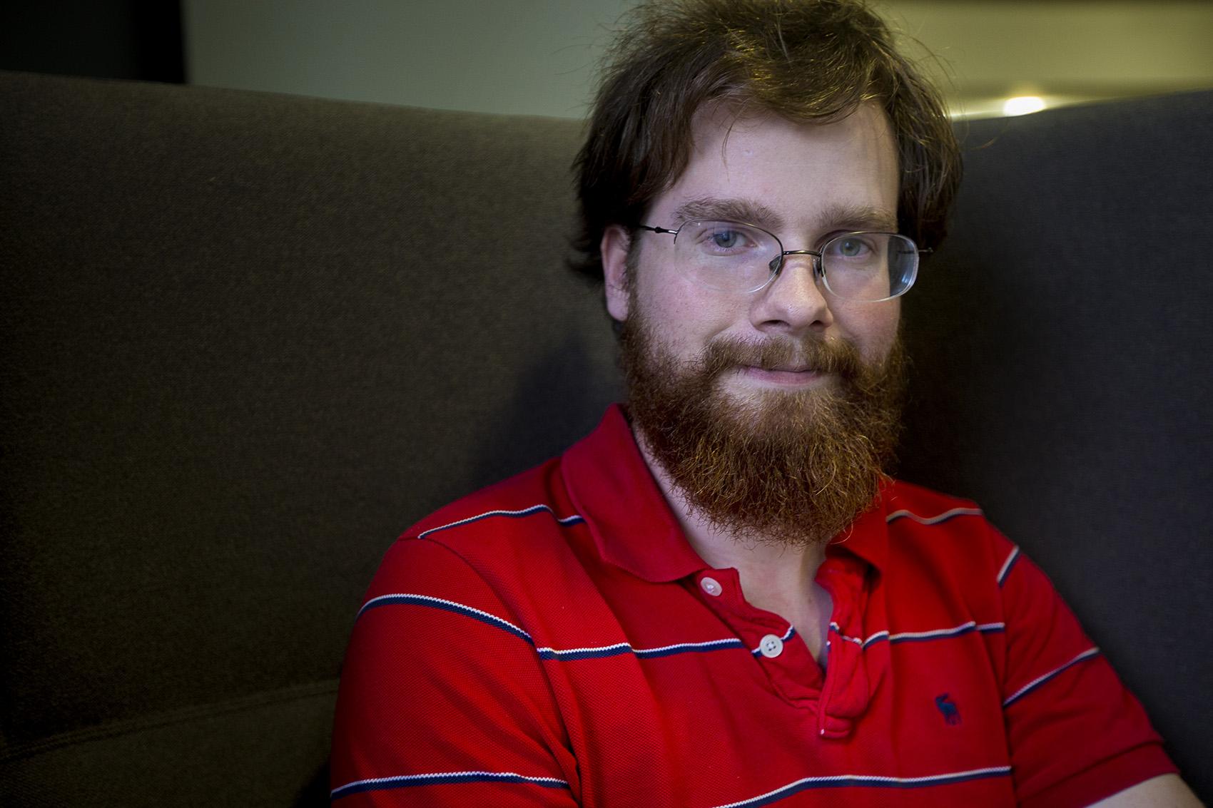 John Medlar, a spokesman for the Boston Free Speech Coalition, at WBUR (Jesse Costa/WBUR)