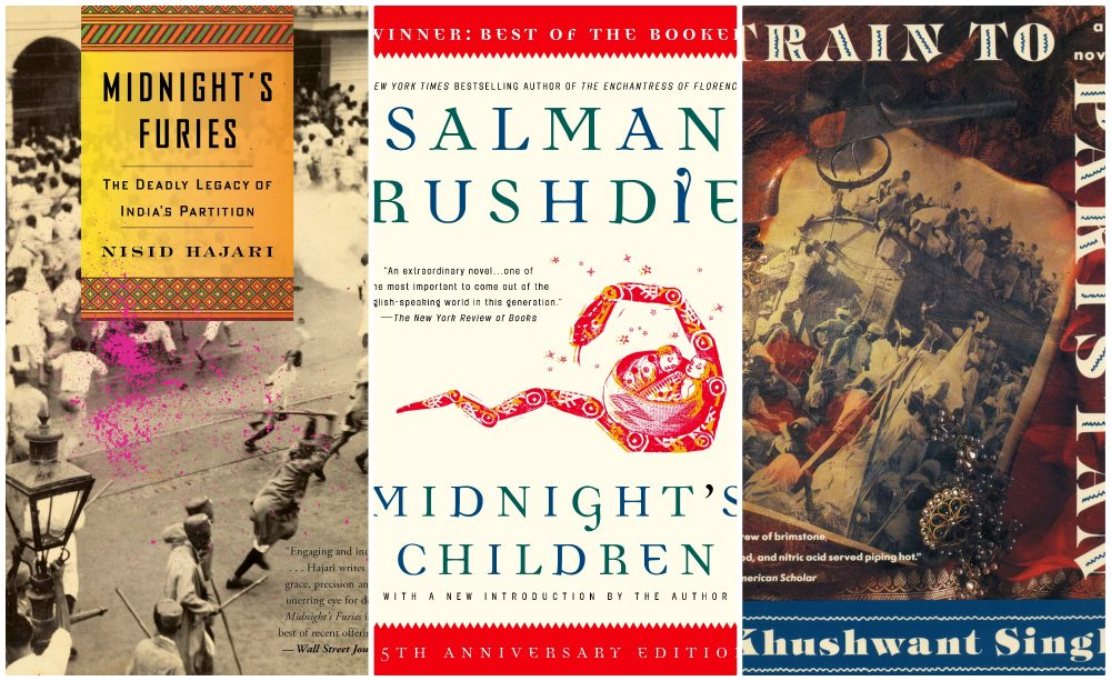 """The covers of (left to right) """"Midnight's Furies,"""" by Nisid Hajari, """"Midnight's Children,"""" by Salman Rushdie and """"Train To Pakistan,"""" by Khushwant Singh. (Courtesy of the publishers)"""