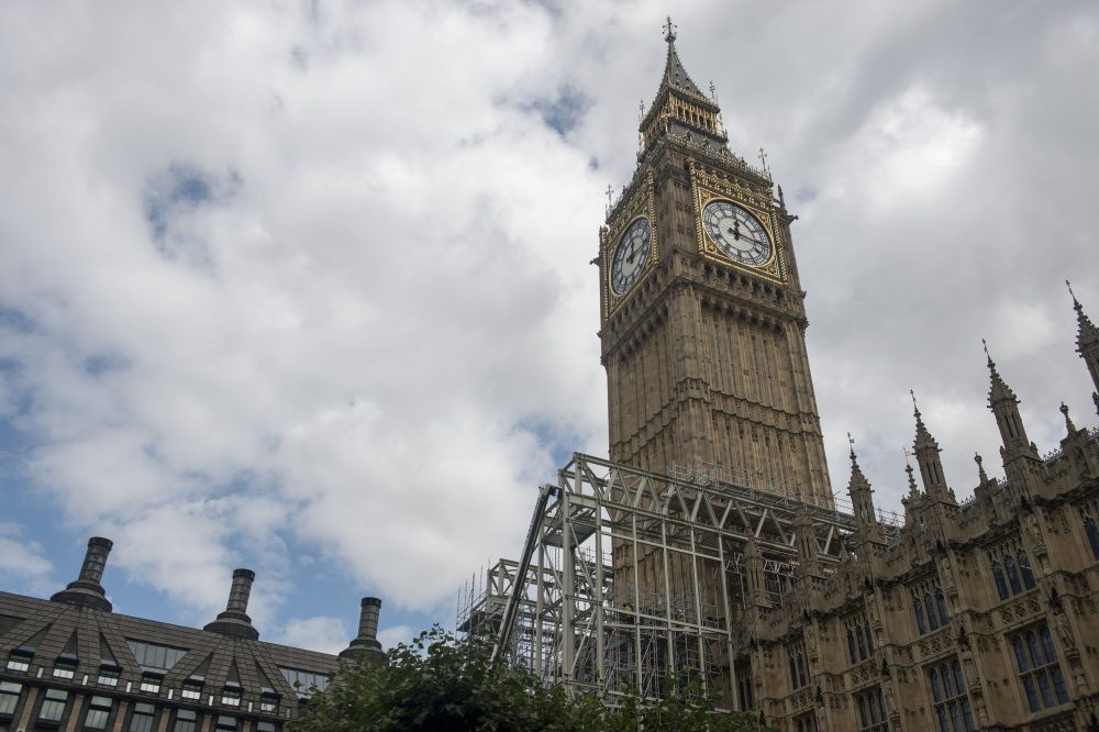 Scaffolding is placed during renovation work on the Elizabeth Tower at the Palace of Westminster, London, Thursday Aug. 17, 2017.  The 13.5 British ton (15.1 U.S. ton, 13.7 metric ton) bell has sounded the time almost uninterrupted since 1859, but it's due to fall silent on Monday so repairs can be carried out on the Victorian clock and the Elizabeth Tower. (Victoria Jones/PA via AP)
