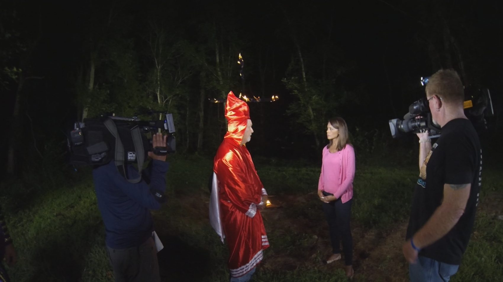 Univision's Ilia Calderón interviewing Christopher Barker, imperial wizard of the Loyal White Knights of the Ku Klux Klan, in North Carolina. (Courtesy Univision)