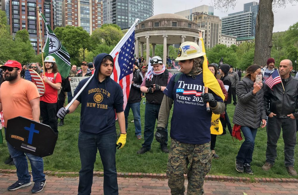 At the rally in May, people were allowed to carry flags and shields, but those won't be permitted this time. (Max Larkin/WBUR)