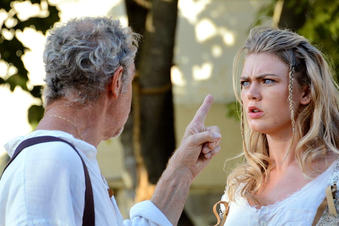 """Prospero (Nigel Gore) talks to his daughter Miranda (Ella Loudon) in """"The Tempest."""" (Courtesy Olivia Winslow/Shakespeare & Company)"""