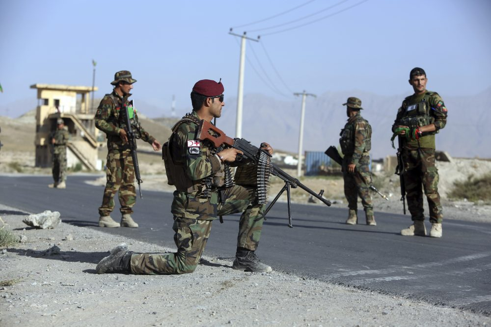 Afghan national army (ANA) Soldiers stand guard at a checkpoint on the outskirts of Kabul, Afghanistan, Monday, Aug. 21, 2017. President Donald Trump will use a nationally televised address to outline for a war-weary nation the strategy he believes will best position the U.S. to eventually declare victory in Afghanistan after 16 years of combat and lives lost. (Rahmat Gul/AP)