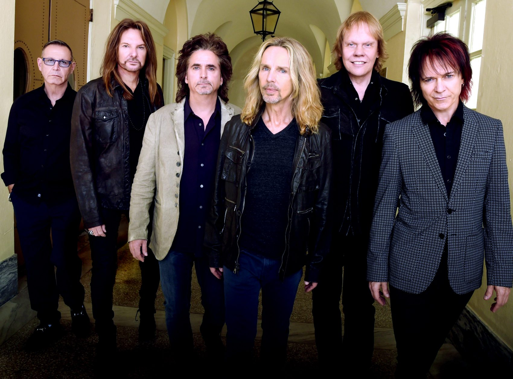 "Styx members Chuck Panozzo, Ricky Phillips, Todd Sucherman, Tommy Shaw, James ""J.Y."" Young and Lawrence Gowan in 2014. (Courtesy Rick Diamond/Getty Images for STYX)"