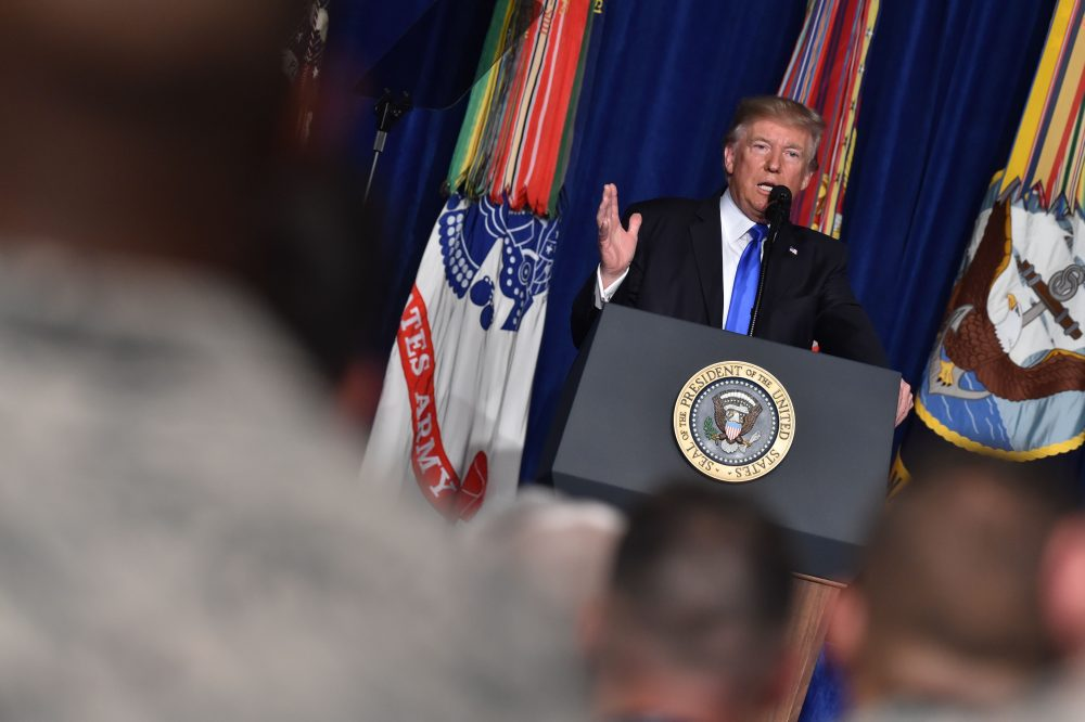 President Trump speaks during his address to the nation from Joint Base Myer-Henderson Hall in Arlington, Va., on Aug. 21, 2017. (Nicholas Kamm/AFP/Getty Images)