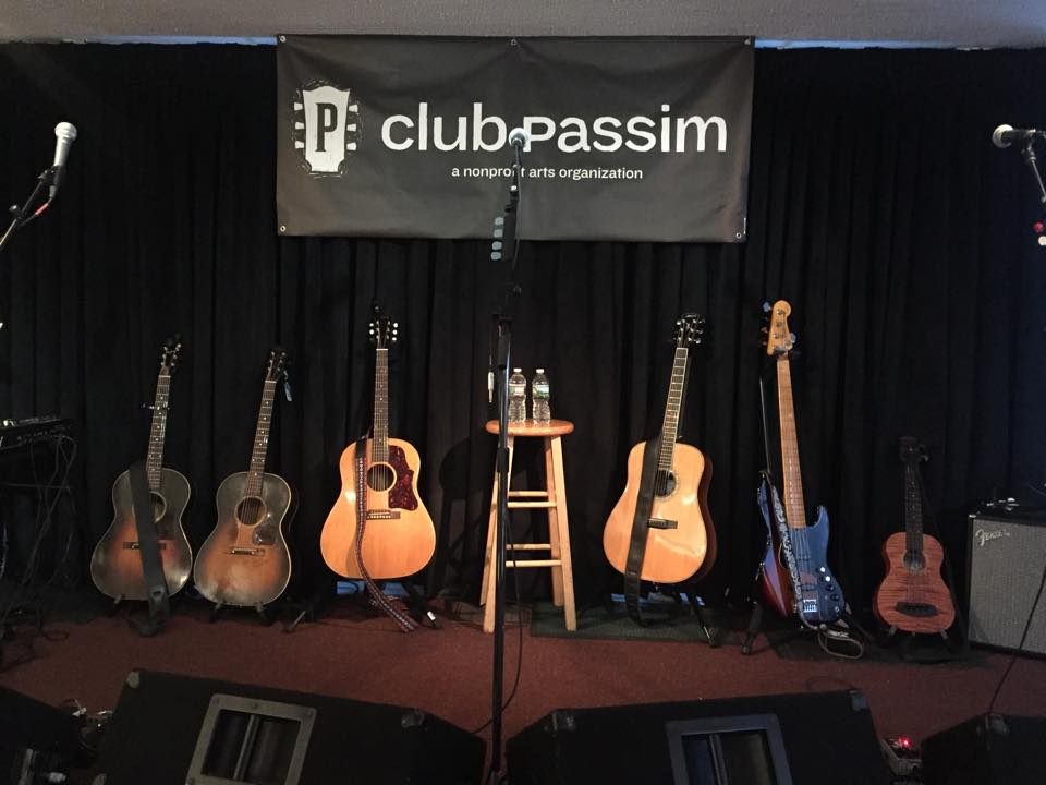 Club Passim's stage before a show. (Courtesy Club Passim)