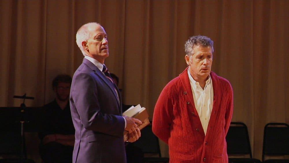 """A scene from rehearsals of """"The Scarlet Professor"""" opera. (Daniel Keller)"""