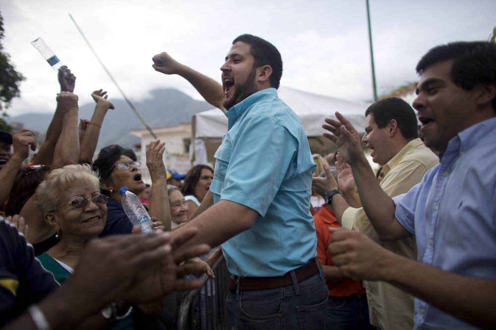 David Smolansky, opposition mayor of the El Hatillo district of Caracas, in 2016. Smolansky was ordered arrested this month by Venezuela's socialist regime for allowing anti-government protests. He is currently in hiding. (Ariana Cubillos/AP)