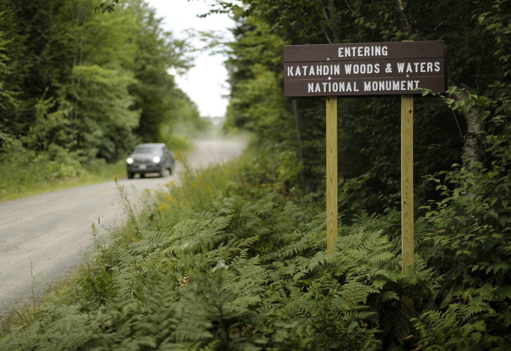 A sign marks the entrance to the Katahdin Woods and Waters National Monument near Patten, Maine. (Robert F. Bukaty/AP)