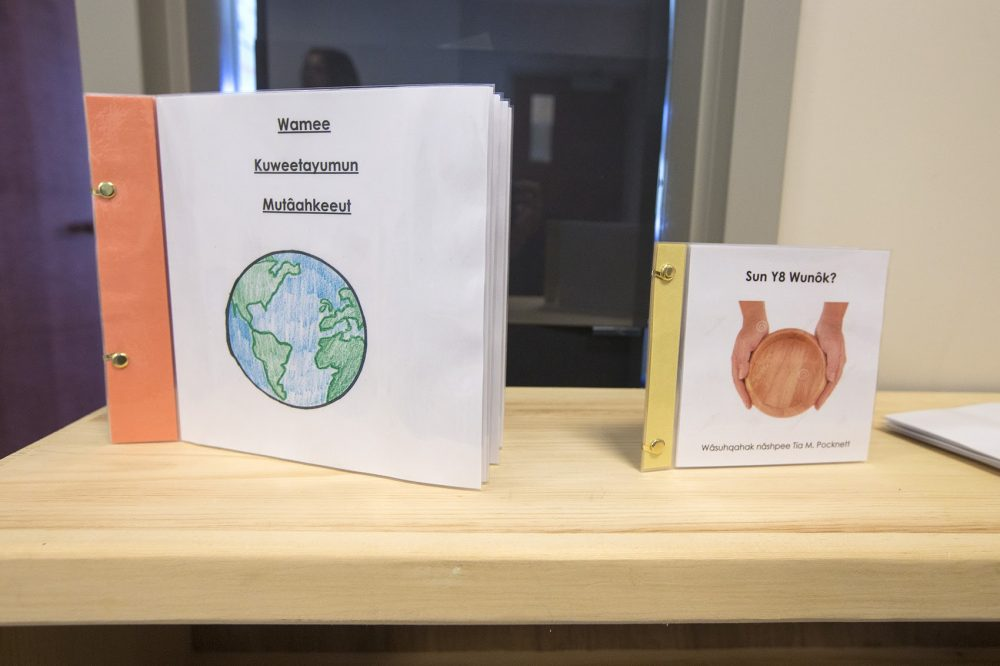 Children's books put together by the Mukayuhsak Weekuw school written in the Wampanoag language for students to read. (Jesse Costa/WBUR)