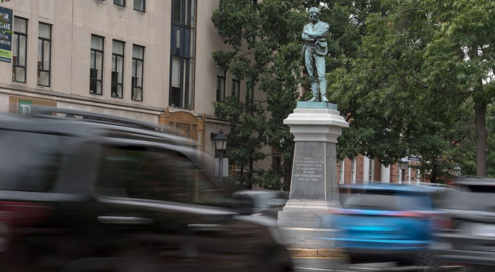 "The bronze statue ""Appomattox"" in downtown Alexandria, Va., on Aug. 14, 2017. (Paul J. Richards/AFP/Getty Images)"