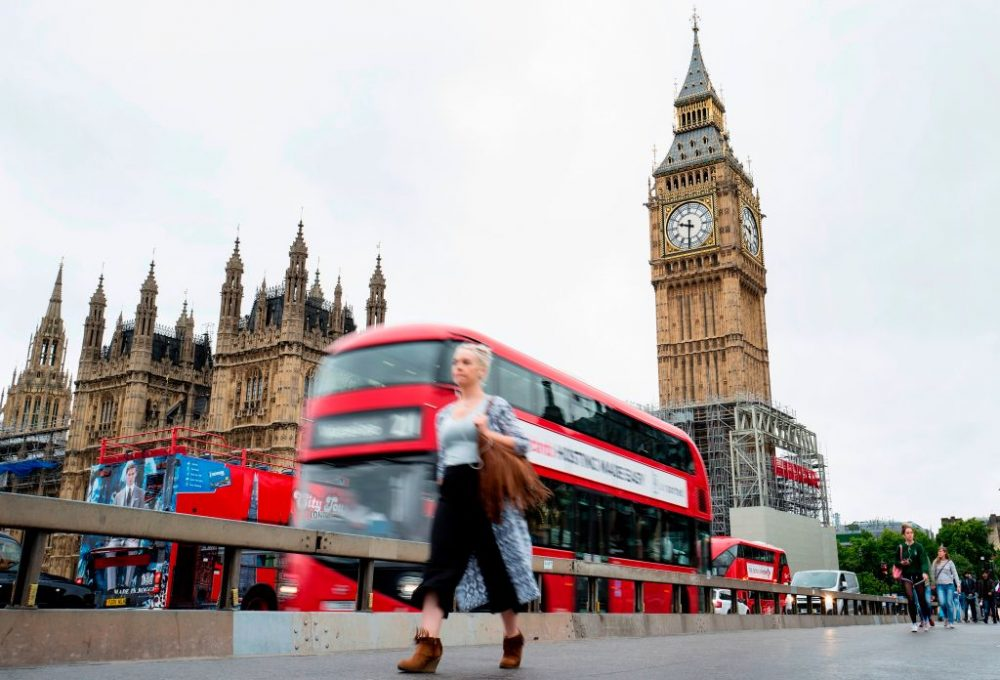 The face of the Great Clock of the Elizabeth Tower, commonly referred to as Big Ben, is pictured at the Houses of Parliament in London, on Aug. 17, 2017. (Tolga Akmen/AFP/Getty Images)